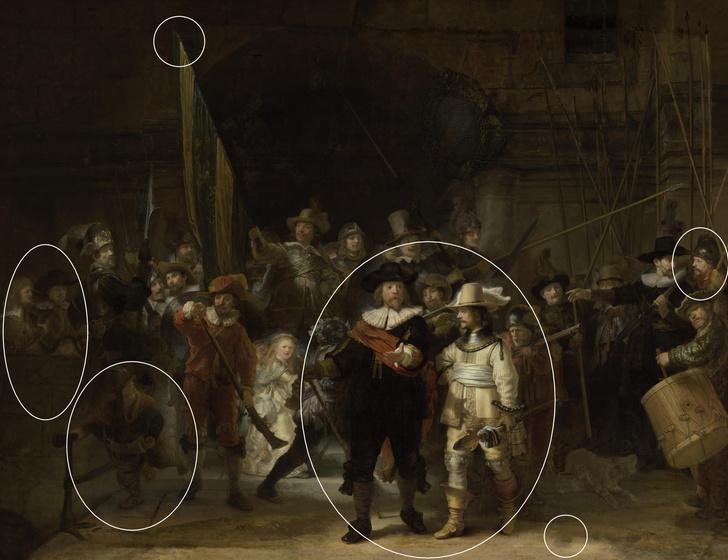 Фото №1 - Искусственный интеллект помог восстановить утраченные 300 лет назад фрагменты «Ночного дозора»