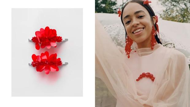 Фото №2 - Red spring: заколки с цветами Simone Rocha x H&M