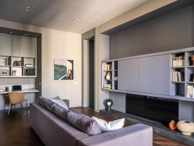 Фото №3 - Квартира с камином в нейтральных оттенках 66 м²
