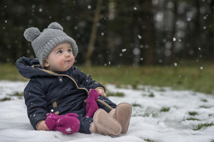 малыши впервые видят снег: фото
