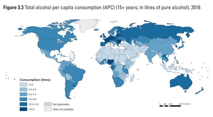 Фото №2 - Карта: Сколько выпивают в разных странах мира