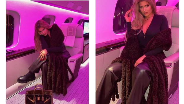 Фото №1 - Сумка Birkin + шарф Bottega Veneta: путешественница Кайли Дженнер к полету готова