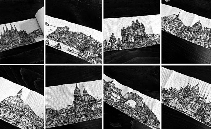 Фото №1 - Искусство в самоизоляции: городские пейзажи на туалетной бумаге