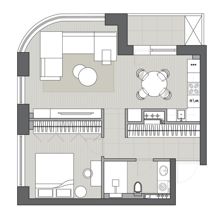 Фото №13 - Монохромная квартира 59 м² для целеустремленной женщины
