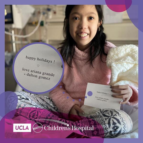 Фото №1 - Делиться счастьем: Ариана Гранде и Далтон Гомес отправили подарки детям в больницу 🎁