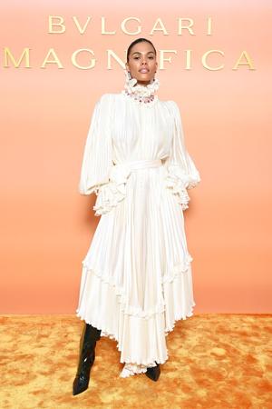 Фото №3 - «Тюдоровский» воротник и драгоценный чокер: роскошный образ Тины Кунаки на ланче Bvlgari