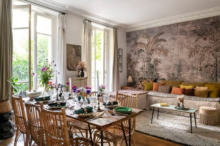 Фото №1 - Маленькая квартира с цветочными мотивами в Париже