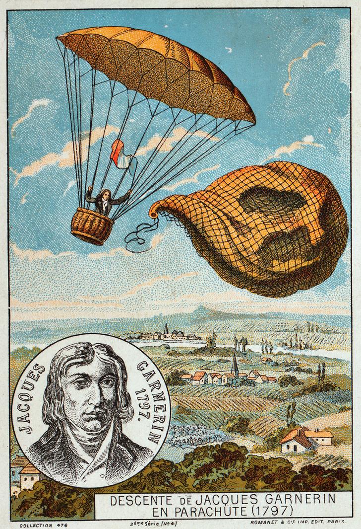 Фото №1 - 223 года назад человек впервые в истории спрыгнул с парашютом с воздушного шара и с высоты 1 км