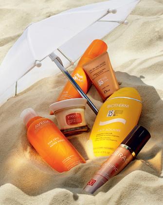 Защита для тела и волос: шампунь Sun Care, нейтрализующий хлор и воздействие соленой волы, Aveda; успокаивающая маска с маслом ши и жожоба S.O.S. Sunburn Mask Bénéfice Soleil, Payot; увлажняющий и солнцезащитный спрей Sun, Wella Professionals; солнцезащитный крем для лица SPF 50, Dior Bronze, Dior; солнцезащитное молочко для тела Lait Solaire SPF 15, Biotherm; крем-активатор загара против морщин и пигментных пятен Sunific 1 SPF 30, Lierac.