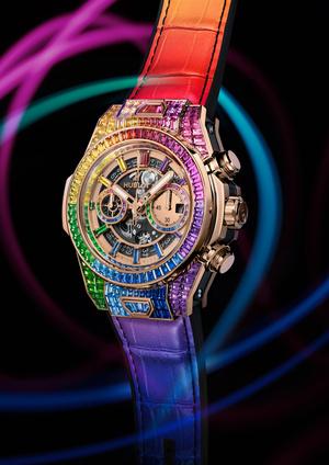 Фото №2 - Радужная новинка: Hublot представил часы Big Bang Unico Full Baguette Rainbow