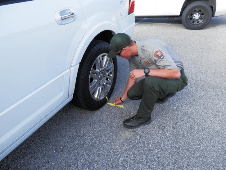 Фото №3 - Белая метка: зачем американская полиция маркирует колеса авто мелом