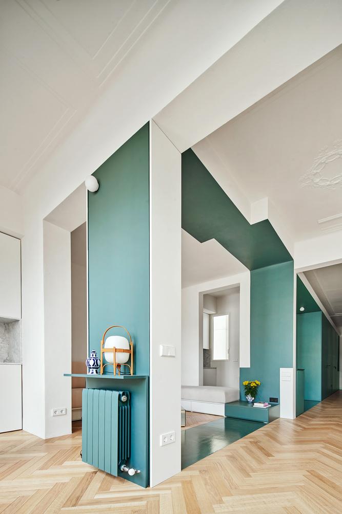 Фото №6 - Квартира с зеленой перегородкой в Барселоне