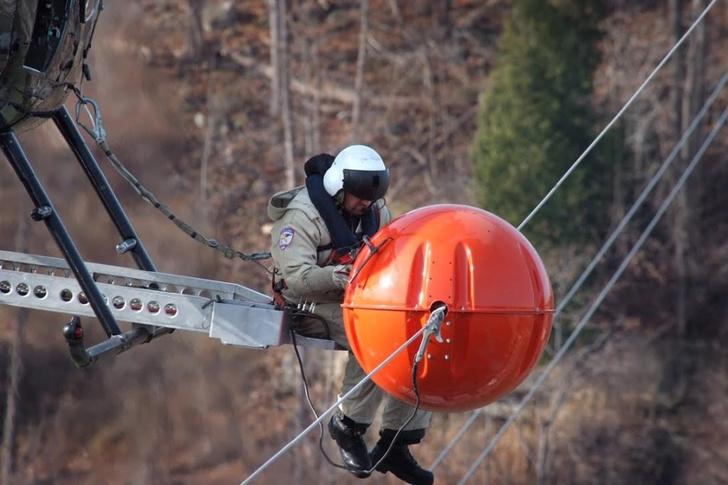 Фото №1 - Зачем на проводах вешают гигантские цветные шары